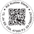 Dashed Round Stamp with QR Code and Text
