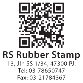 QR Code Stamp with 4 Line Bottom text
